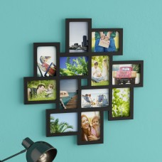 Latitude Run Nordman 12 Opening Decorative Wood Photo Collage Wall Hanging Picture Frame LTTN8517