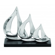 Beachcrest Home Whitefield Silver Aluminum Three Sail Sculpture BCHH8256