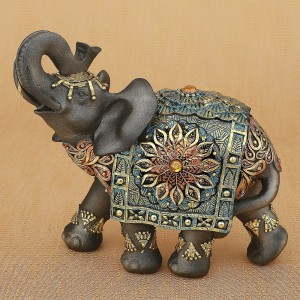 Bloomsbury Market Mustang Elephant with Colorful Headress and Blanket Figurine BLMT5716
