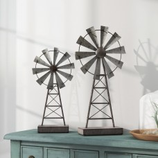 Laurel Foundry Modern Farmhouse Gobert Windmill 2 Piece Sculpture Set LFMF2624
