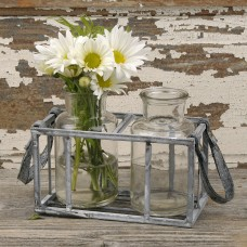August Grove Eidson 2-Piece Glass Pot Planter Set in Metal Basket with Leather Handles BLSM4234