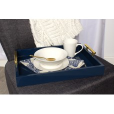 Kate and Laurel Lipton Decorative Serving Tray with Polished Metal Handles KTEL1184