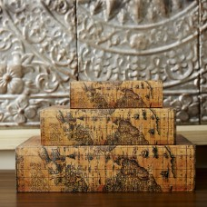 World Menagerie Sanjeev 3 Piece Faux Leather Book Box Set WDMG1254