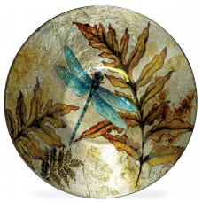 August Grove Decorative Round Blue/Brown Glass Plate AGGR3538