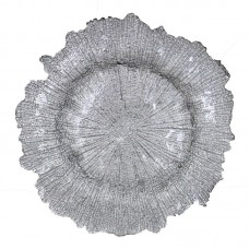 House of Hampton Glass Charger Flower Shape Decorative Plate HOHM6479