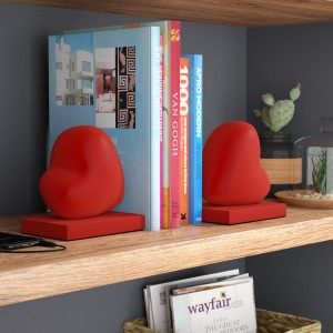 Wrought Studio Red Hearts Book End VRKG5501