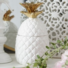Beachcrest Home Gremillion White and Gold Ceramic Pineapple Jar BCMH4786