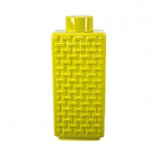Sagebrook Home Yellow Ceramic Weave Textured Jar SGBH1757