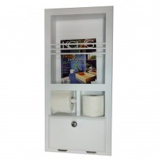 WG Wood Products In The Wall Magazine Rack with Double Toilet Paper and Storage Cubby WGWP1455