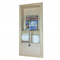 WG Wood Products Recessed Magazine Rack with Double Toilet Paper and Storage Cubby WGWP1026