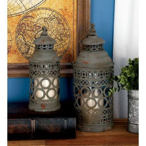 Cole Grey 2 Piece Metal and Glass Lantern Set COGR4881