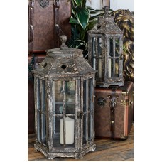 Cole Grey 2 Piece Wood and Glass Lantern Set CLRB2724