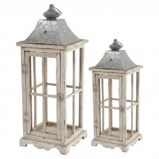 Gracie Oaks 2-Piece Wood/Glass/Metal Lantern Set GRCK1035