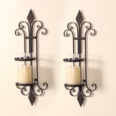 Darby Home Co Traditional Iron Wall Sconce Candle Holder DBYH1056