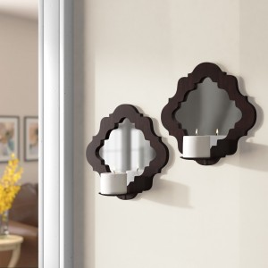 Three Posts Wood Damask Mirrored Wall Sconce TRPT2812