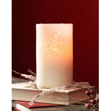 The Holiday Aisle Glitter Snowflake Cut-Out Battery Operated Flameless LED Wax Christmas Pillar Candle THDA7205
