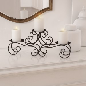 Red Barrel Studio Scroll Black Iron Candelabra RDBS9079