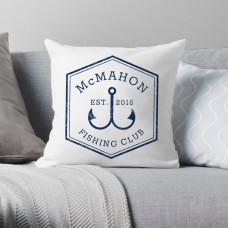 4 Wooden Shoes Personalized Fishing Club Throw Pillow FWDS1150