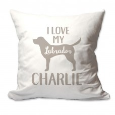 4 Wooden Shoes Personalized I Love My Labrador Throw Pillow FWDS1661