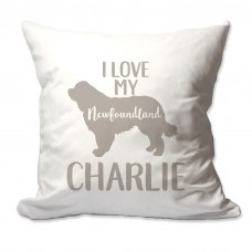 4 Wooden Shoes Personalized I Love My Newfoundland Throw Pillow FWDS1664