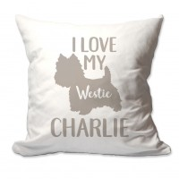 4 Wooden Shoes Personalized I Love My Westie Throw Pillow FWDS1676