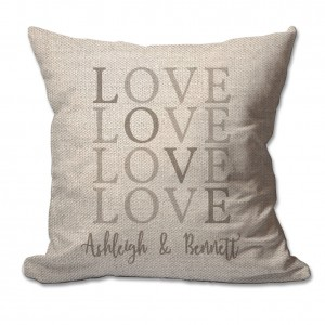 4 Wooden Shoes Personalized Love with Couples Names Textured Linen Throw Pillow FWDS1633