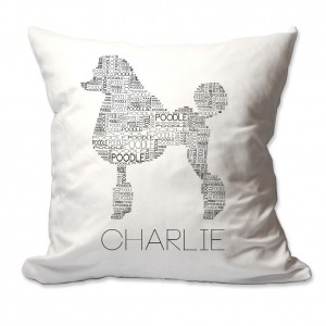 4 Wooden Shoes Personalized Poodle Dog Breed Word Silhouette Throw Pillow FWDS1704