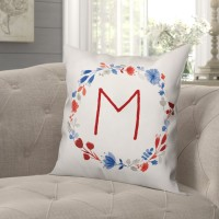 August Grove Ciocca Floral Monogram Wreath Throw Pillow DDCG5092