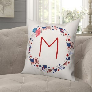 August Grove Ciocca Monogram Wreath Indoor/Outdoor Throw Pillow DDCG5089
