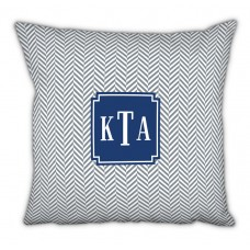 Boatman Geller Herringbone Classic Monogram Cotton Throw Pillow TBMG1791