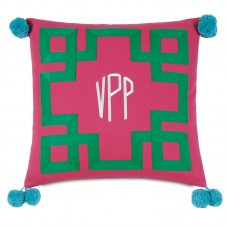 Eastern Accents Epic Preppy Embroidered 3-Letter Monogram Throw Pillow HXF1604