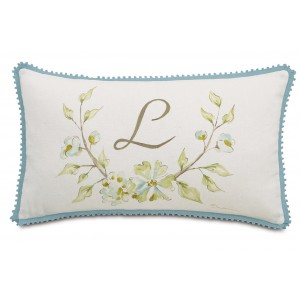 Eastern Accents Magnolia Hand-Painted Monogram Fabric Throw Pillow EAN7337