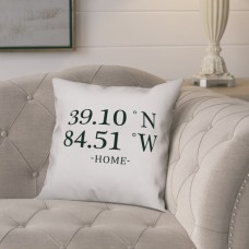 Gracie Oaks Bloomfield Longitude and Latitude Home Coordinates Throw Pillow GRCS2785