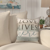 Highland Dunes Biscay Love Lives Here Striped Throw Pillow HIDN1254
