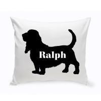 JDS Personalized Gifts Personalized Basset Hound Silhouette Throw Pillow JMSI2449