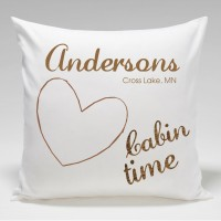JDS Personalized Gifts Personalized Cabin Heart Throw Pillow JMSI2330