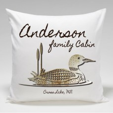JDS Personalized Gifts Personalized Cabin Loon Throw Pillow JMSI2335