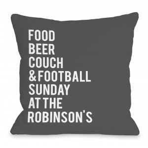 One Bella Casa Personalized Football Sunday At The Family Throw Pillow HMW9560