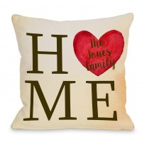 One Bella Casa Personalized Home Heart Family Throw Pillow HMW9561