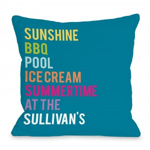 One Bella Casa Personalized Summertime At The Family Throw Pillow HMW9562