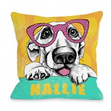 One Bella Casa Personalized Wacky Pup Throw Pillow HMW9549