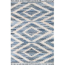 Novogratz By Momeni California Laguna Hand-Woven Cotton Blue Area Rug NMOM1097