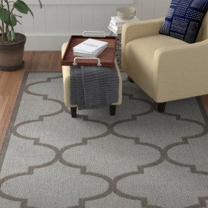 Winston Porter Emma Morroccan Trellis Power Loom Light Gray Indoor/Outdoor Area Rug WNPR4591