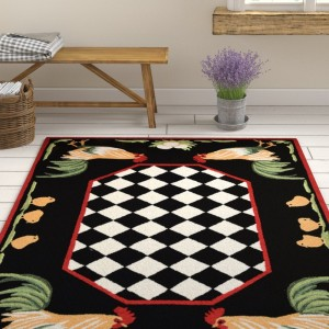August Grove Treport Rooster Handmade Black Indoor/Outdoor Area Rug AGGR4055