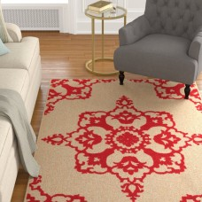 Charlton Home Winchcombe Sand/Red Outdoor Area Rug CHLH7969