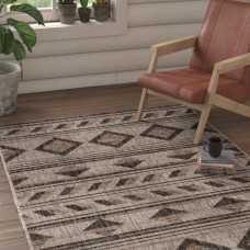 Union Rustic Mathes Gray/Black Indoor/Outdoor Area Rug FV72898