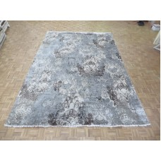 Bloomsbury Market One-of-a-Kind Pellegrino Modern Abstract Hand-Knotted Gray Area Rug OLRG2181