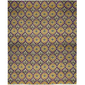 Bokara Rug Co., Inc. One-of-a-Kind Hand-Knotted Wool Purple/Yellow Indoor Area Rug ABHD1016