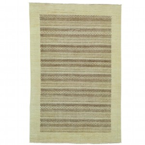 Loon Peak One-of-a-Kind Rothermel Striped Modern Hand-Knotted Beige Area Rug LNPE5864