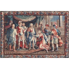 Mansour One-of-a-Kind Antique Aubusson Tapestry Handwoven Wool/Silk Red/Blue Indoor Area Rug MNSR1017